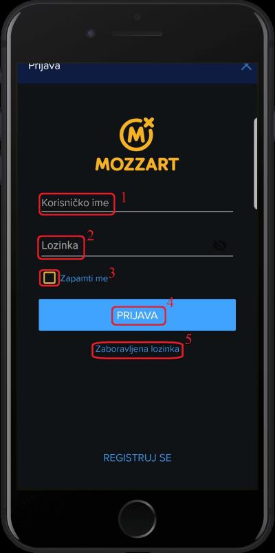 mozzart login korak 2
