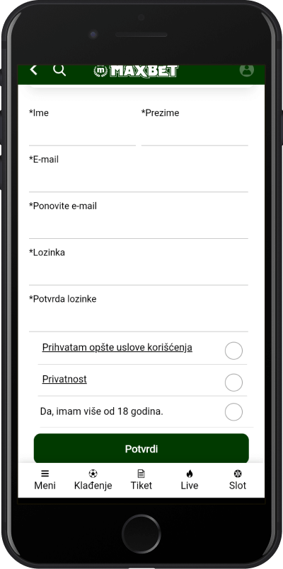 maxbet aplikacija registracija